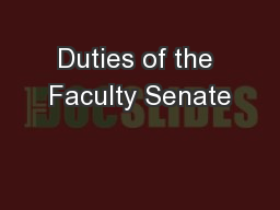 Duties of the Faculty Senate
