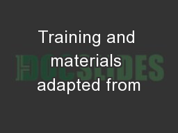 Training and materials adapted from