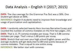 Data Analysis – English II (2017; 2015)