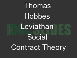 Thomas Hobbes Leviathan Social Contract Theory