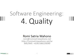 Software Engineering: 4. Quality