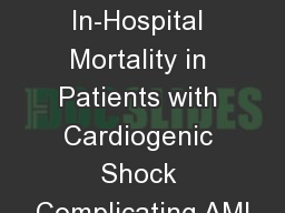 Effect of Obesity on In-Hospital Mortality in Patients with Cardiogenic Shock Complicating AMI