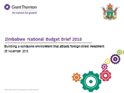 Zimbabwe National Budget Brief 2016