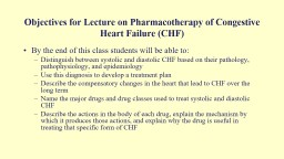 Objectives for Lecture on Pharmacotherapy of Congestive Heart Failure (CHF)