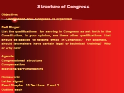 Structure of Congress Objective: