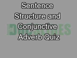 Sentence Structure and Conjunctive Adverb Quiz