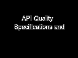 API Quality  Specifications and