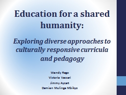 Education for a shared humanity: