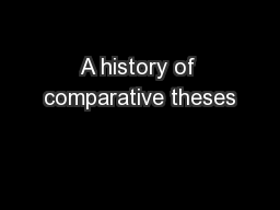 A history of comparative theses