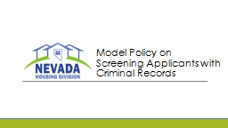 Model Policy on Screening Applicants with Criminal Records