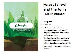 Forest School and the John Muir Award