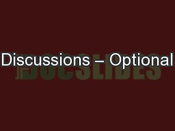 Discussions – Optional