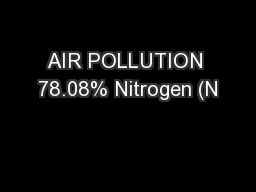 AIR POLLUTION 78.08% Nitrogen (N
