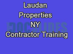 Laudan Properties NY Contractor Training