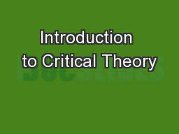 Introduction to Critical Theory