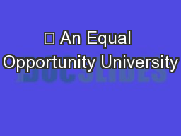 ? An Equal Opportunity University