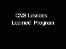CNS Lessons  Learned  Program