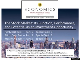 The Stock Market:  Its  Function, Performance,
