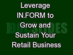 1 How to Leverage IN.FORM to Grow and Sustain Your Retail Business