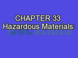 CHAPTER 33 Hazardous Materials: