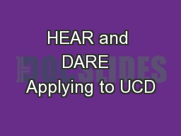 HEAR and DARE  Applying to UCD