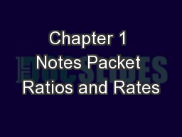 Chapter 1 Notes Packet Ratios and Rates
