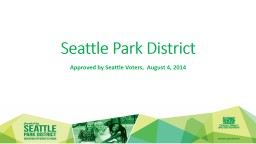Seattle Park District  Approved by Seattle Voters,  August 4, 2014