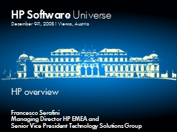 HP Software  Universe December 9-11, 2008