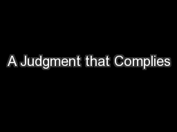 A Judgment that Complies