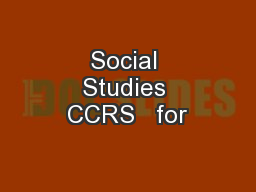 Social Studies CCRS   for