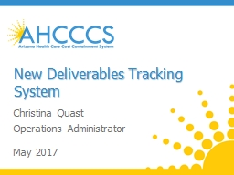 New Deliverables Tracking System