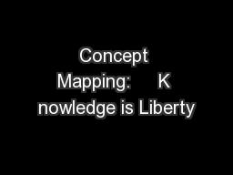 Concept Mapping:     K nowledge is Liberty