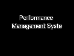 Performance Management Syste