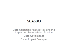 SCASBO Data  Collection Points of Failure and Impact on Poverty Identification
