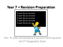 Year  7 –  Revision   Preparation
