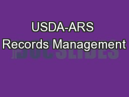 USDA-ARS Records Management