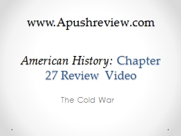 American History:  Chapter 27 Review Video PowerPoint PPT Presentation