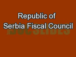Republic of Serbia Fiscal Council