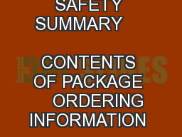 GENERAL DESCRIPTION               SAFETY SUMMARY         CONTENTS OF PACKAGE     ORDERING INFORMATION                                     Bulletin No