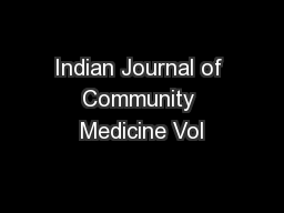 Indian Journal of Community Medicine Vol