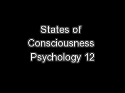 States of Consciousness Psychology 12