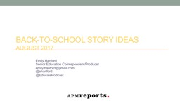 Back-to-School  Story Ideas