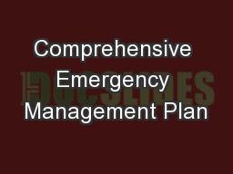Comprehensive Emergency Management Plan PowerPoint PPT Presentation