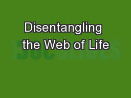 Disentangling the Web of Life