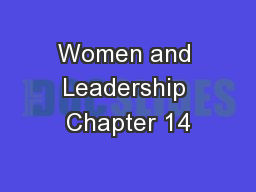 Women and Leadership Chapter 14