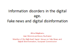 Information disorders in the digital age