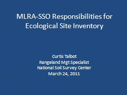 MLRA-SSO Responsibilities for Ecological Site Inventory