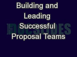 Building and Leading Successful Proposal Teams