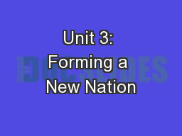 Unit 3: Forming a New Nation
