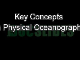 Key Concepts in Physical Oceanography